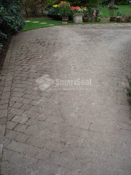 Monoblock 'cobbled' pavers before cleaning