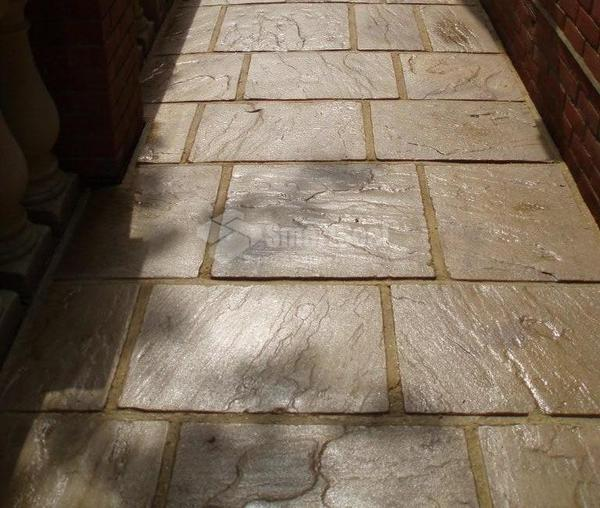 Paving slabs after cleaning and sealing